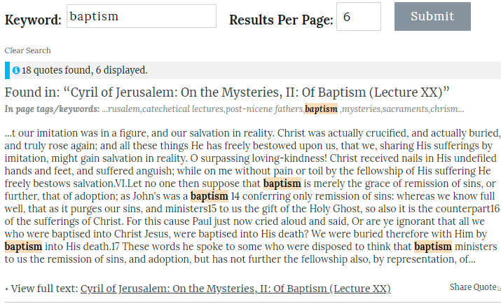 "Screenshot of an example quote search for the word ""baptism"""